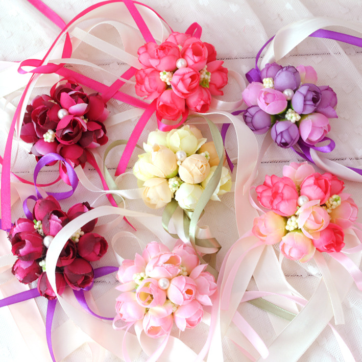 5 Colors Wrist Flowers Pearl Silk Rose Ribbon Artificial Flower Party Wedding Bridal Decoration Bridemaid Corsages Hand Flower