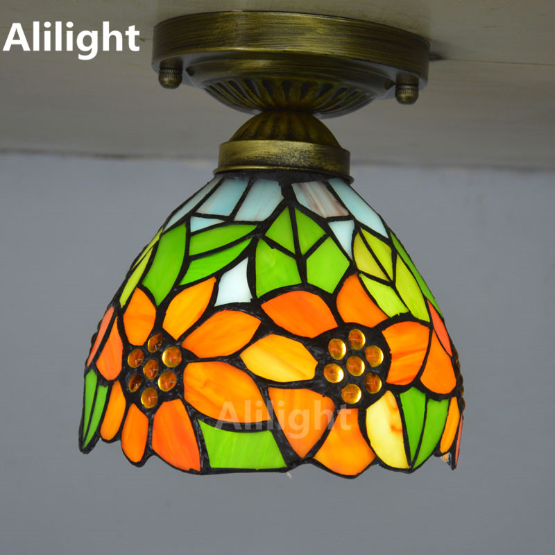 Tiffany Ceiling Light Stained Glass Ceiling Lamp Country Sunflower Kitchen  Indoor Lighting E27 Hanging Lamp Decor