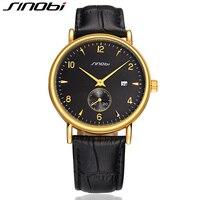 SINOBI Fashion Watch Men Wrist Watches For Luxury Brand Leather Watchband Causal Business Males Quartz Clock