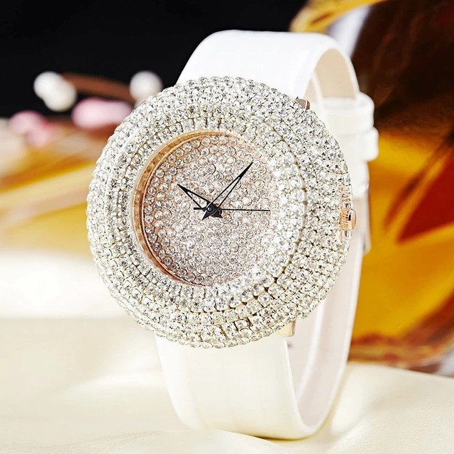 JBAILI Women Watches Big Bling White Rhinestone New Fashion Design Quartz Watch Women Dress Wristwatches Leather Band Strap Gift