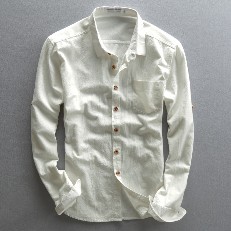 Mens Linen Shirts Long Sleeves Slim Casual Spring Summer Cotton Shirt Men Turn-Down Collar Business Dress Shirts Male TS-189