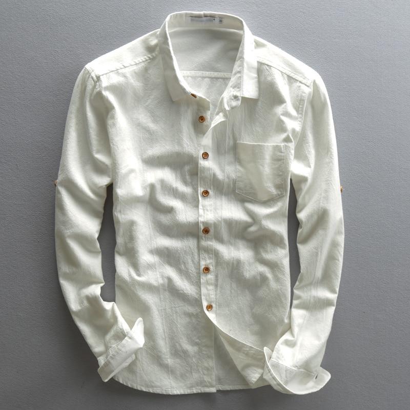 Mens Linen Shirts Long Sleeves Slim Casual Spring Summer Cotton Shirt Men Turn-Down Collar Business Dress Shirts Male TS-189