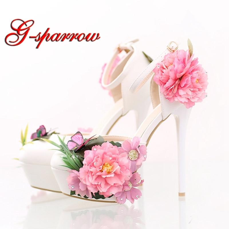 Fashion Flower Bridal Dress Shoes Platform Formal Dress Shoes with Ankle Straps New Designer Party Prom Pumps Super High Heels