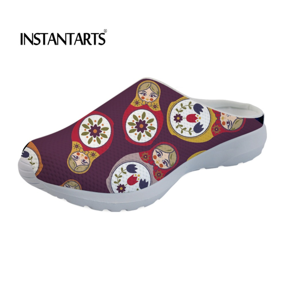 INSTANTARTS Women Air Mesh Beach Sandals Cute Russian Doll Prints Ladies Comfort Slip On Sippers Mujer Girls Causal Summer Shoes