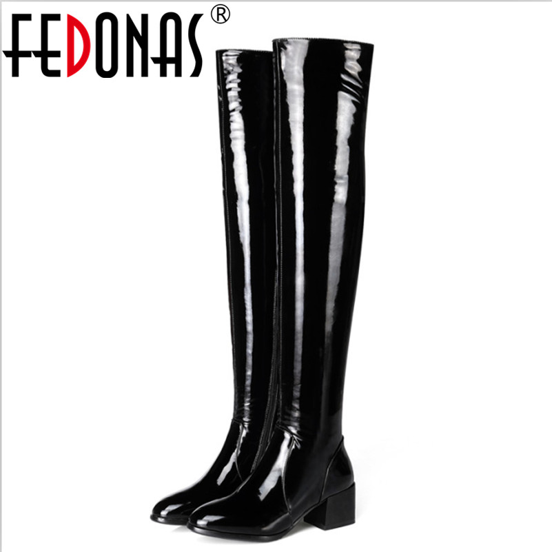FEDONAS Top Quality Women Autumn Winter Warm Genuine Leather Boots High Heels Cow Patent Leather Boots Plain Stretch Shoes Woman