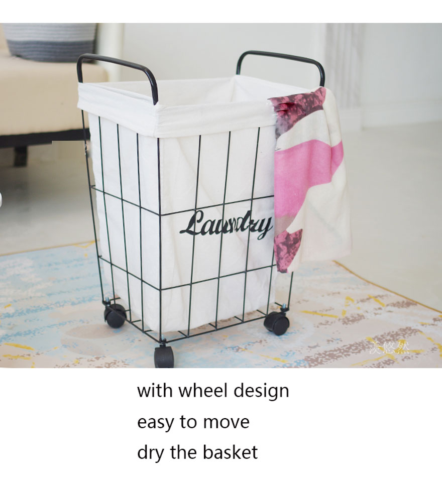 Dirty Laundry Baskets Us 65 99 New Iron Dirty Clothes Basket Metal Storage Belt Wheel Bathroom Barrel Industrial Eco Friendly Clothing Laundry Basket In Storage Baskets