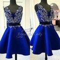Azul Royal Curto Prom Dresses 2017 Requintado Frisado Cristais V decote da Luva do Tampão Vestido de Baile Dois Pedaço de Festa de Luxo de Dubai vestido