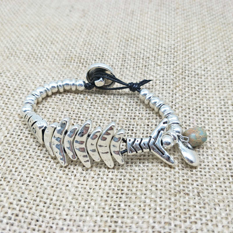 Новинка 2018, уникальный дизайн, браслет в виде рыбы, винтажные Серебряные бусы, плетеные богемные ювелирные изделия для женщин