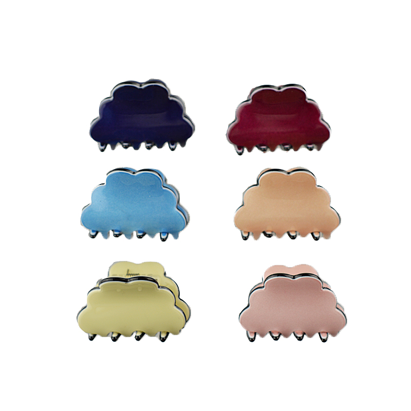 Women Korean Mini Hair Clip Cute Wave Head Acrylic Hair Claw Candy Color Hair Band Clip 3cm Long 6pc/pack ...