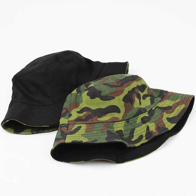 4cd47af3 Unisex Adult Flat Reversible Bucket Hats Camouflage Fisherman Caps Outdoors  Sun Protective Beach Hat