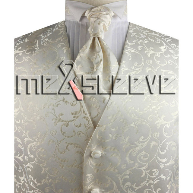 free shipping mens ivory swirl handsome waistcoat set