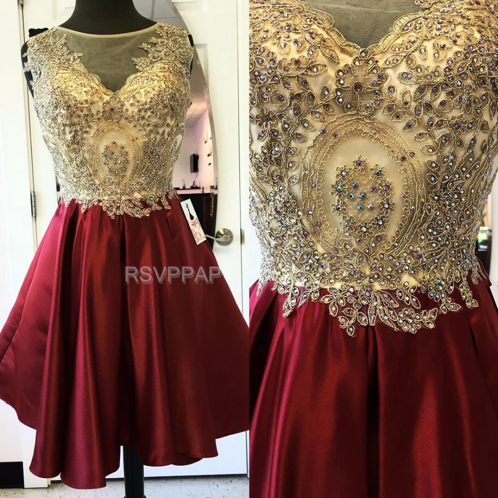 52545c8a034 Luxury Short Homecoming Dress Sheer Through Sleeveless Satin Crystals  Burgundy A Line Scoop Neckline Homecoming Dresses 2017