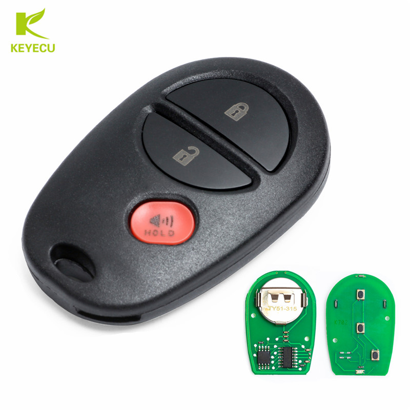 KEYECU 3Button Replacement Remote Car Key Fob for Toyota