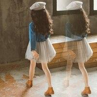 Обувь для девочек модное платье Повседневное джинсовый Топ Puff нижней Винтаж Дизайн детская одежда для дня рождения детей в возрасте 5678910 11 12...