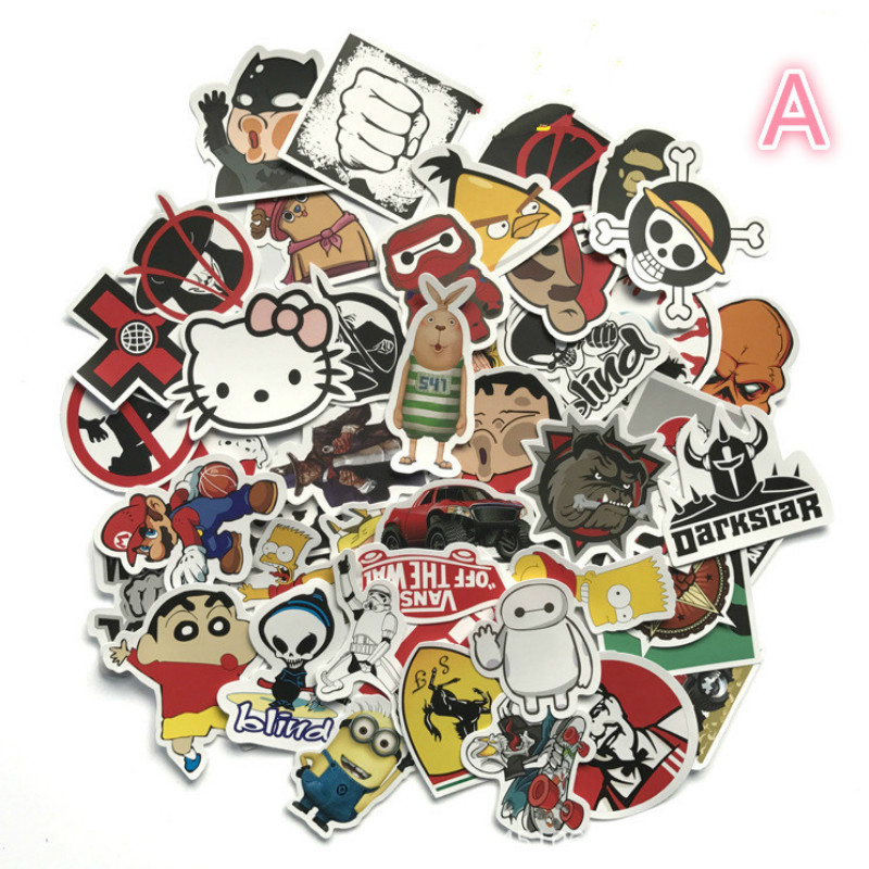 50 Mixed Car Styling Funny Cool Bomb Waterproof Graffiti Doodle Sticker Skateboard Decal Toy Sticker Hellaflush cool funny bomb shape coin bank w sound