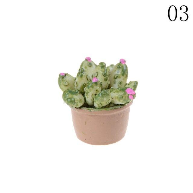 1PCS 1:12 Mini Miniature Green Plant In Pot For Dollhouse Furniture Decoration Succulent plants