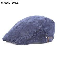SHOWERSMILE Brand Navy Blue Corduroy Beret Flat Cap Spring Autumn Men British Vintage Peaked For Women Duckbill Sombrero