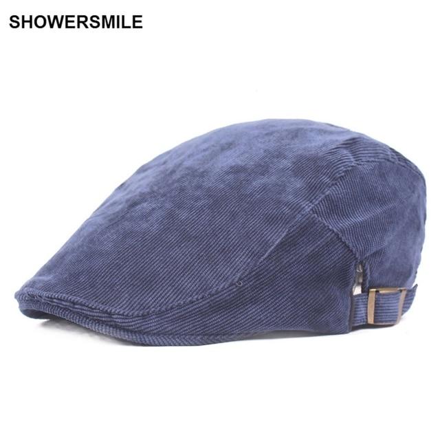 SHOWERSMILE marca PANA azul marino boina tapa plana de Primavera de otoño  de los hombres británico cbc24ba1363