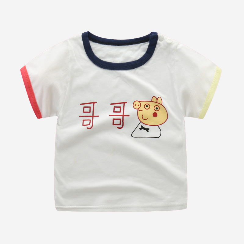 New children 39 s short sleeved T shirt pure cotton girl cartoon half sleeved baseshirt kid T shirt summer suit in T Shirts from Mother amp Kids