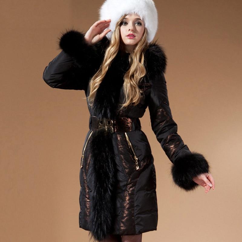 2016 Donne Giacca Invernale Piumini outwear royalcat grande collo di pelliccia sottile a medio-lungo giù cappotto con cappuccio delle Donne giù cappotti