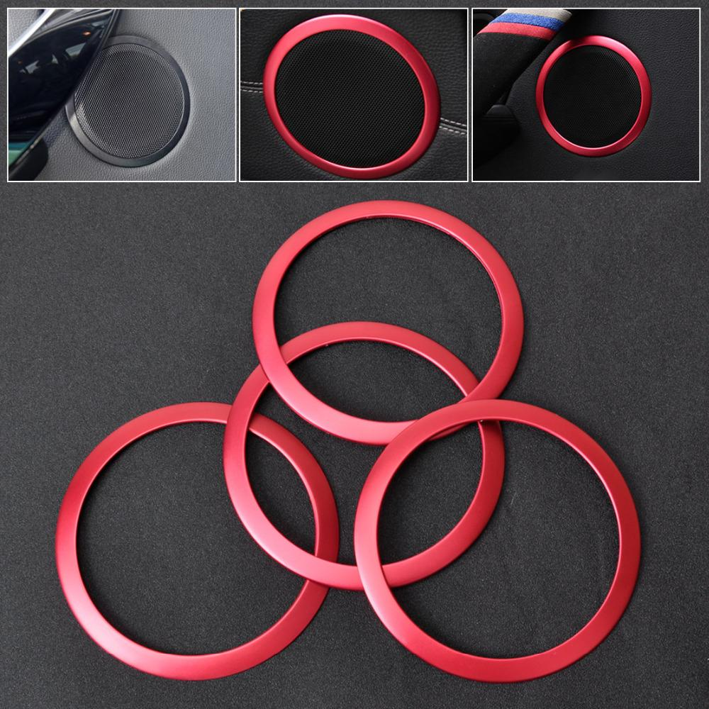 CITALL New 4Pcs Interior Door Stereo Speaker Trim Cover Red Ring For BMW 3 Series F30
