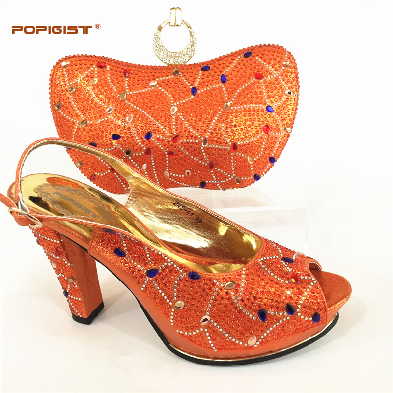 Orange Color Italian Shoes with Matching Bags African Shoes and Matching Bags Italian Nigerian Women Wedding