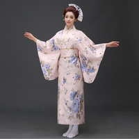 Japanese Traditional Women Cotton Kimono Vintage Yukata With Obi Performance Dance Dress Novelty Evening Dress One