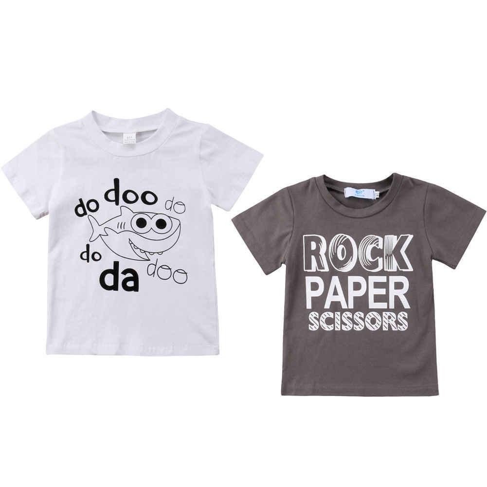 7443a3dab 2018 Newborn Kids Baby Boy Girl Tops Casual Letter Paper Shark Short  Sleeves Summer T-