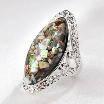 4 Color Vintage Antique Silver Oval Shell Finger Ring