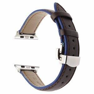 Image 4 - Frankreich Echtem Leder Armband für iWatch Apple Uhr SE 6 54 3 2 1 38mm 40mm 42mm 44mm Dual Farbe Band Schmetterling Spange Band
