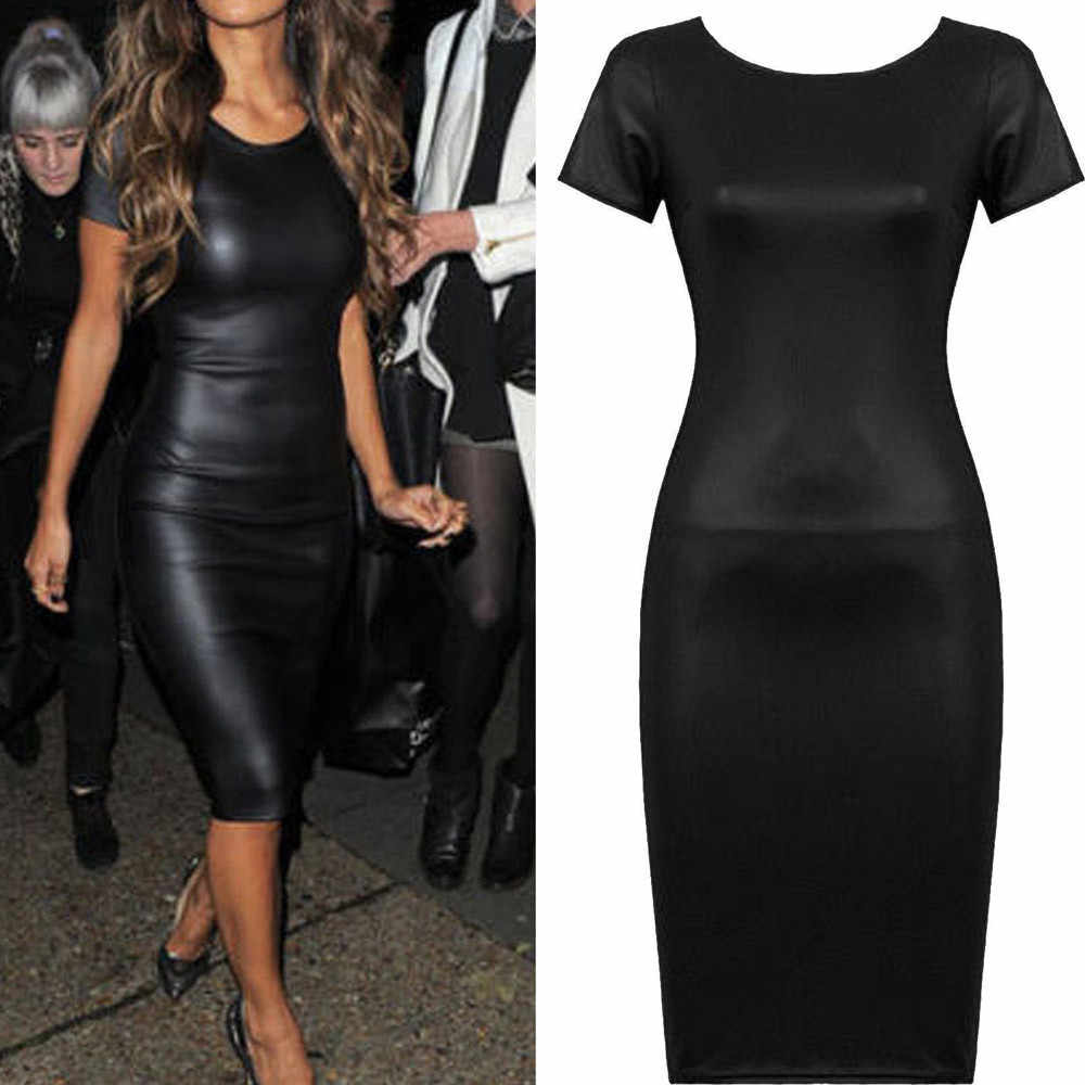 Feitong Party Dress Werk Jurken Vrouwen Korte Mouwen Wet Look Lederen Bodycon Midi Schede Vestidos Sexy Skinny Dress Kleding Tops