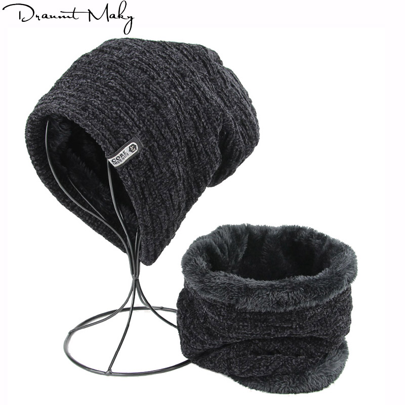 2018 Men's winter hat scarf knitted black hats Fall Hat Thick and warm and Bonnet   Skullies     Beanie   Soft Knitted   Beanies   Cotton