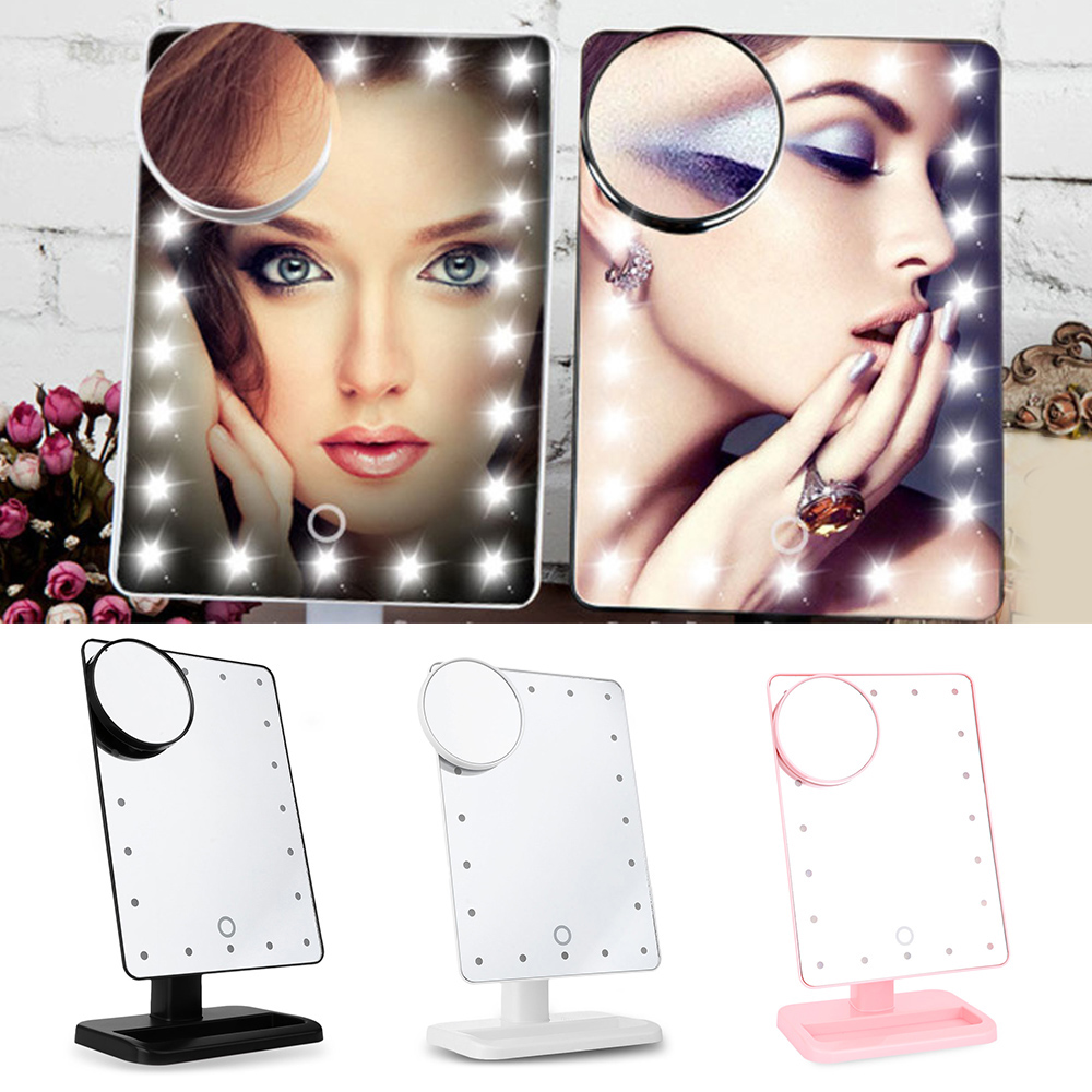 Fashion Portable Folding Table Makeup Mirror With 20 LEDs Light 10X Magnifying Mirror Touch Screen Vanity Mirror Cosmetic Mirror