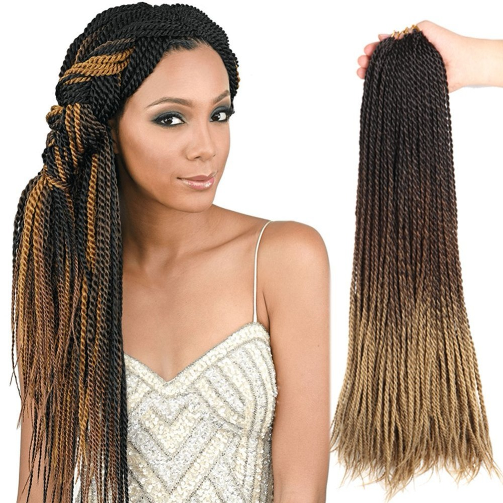 Senegalese Twist Hair Crochet 24 Inches Crochet Braids Ombre Synthetic Braiding Hair 30 Roots For Women 95g