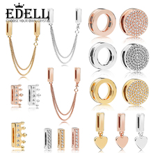 EDELL 100% 925 sterling silver SHINE REFLEXIONS DAZZLING ELEGANCE CLIP Rose Crown Clip Floating Heart Clip Charm Safety Chain