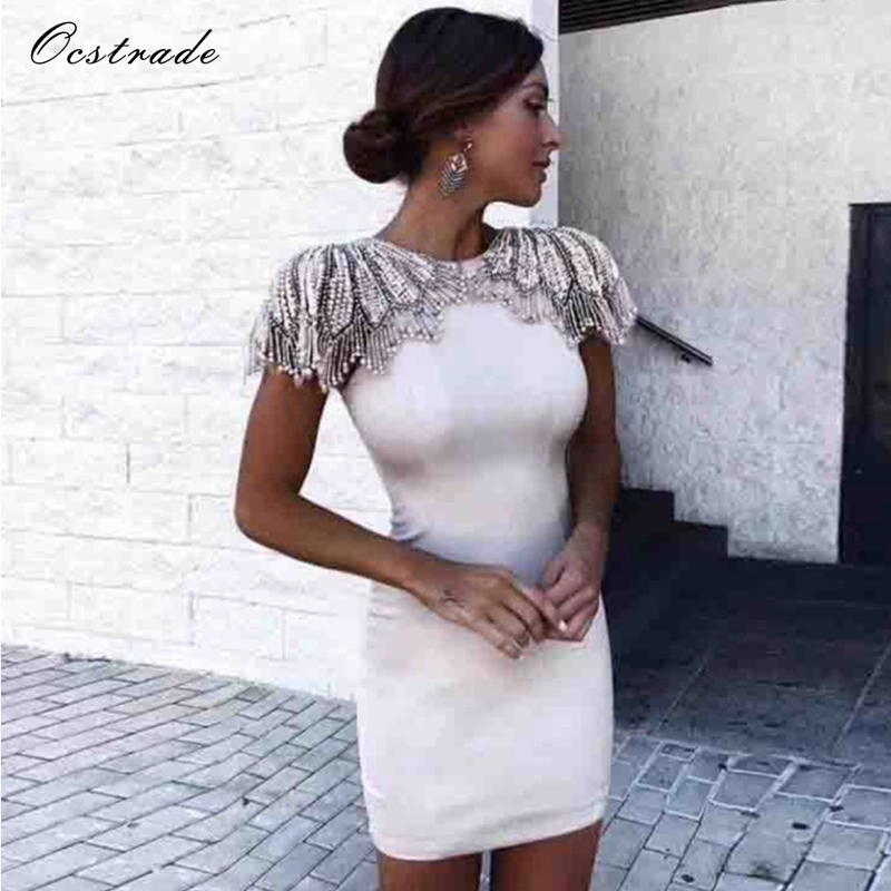 Ocstrade Summer Dress 2018 Women Sexy Bodycon High Quality Beaded and Mesh Elegant White Bandage Dress Rayon Black msk women s beaded shoulders cowl faux wrap jersey dress 12 black white