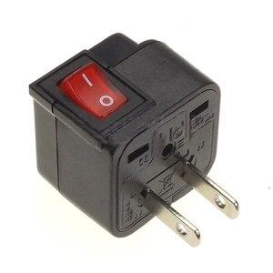 Image 2 - Adaptateur de voyage de convertisseur de prise de courant universel de lue usa UK AU avec le commutateur principal de LED convertissent la prise du monde noir
