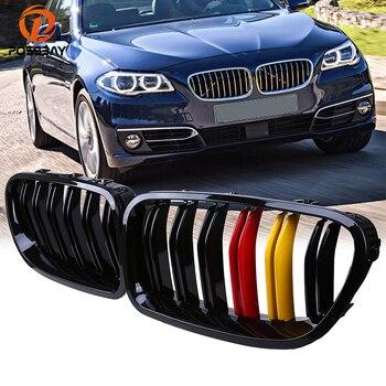 POSSABAY Voorbumper Center Roosters voor BMW 5-Serie F10 528iX/530d/550iX/Hybrid 5 Sedan 2010-2016 Gloss Zwart Rood Geel Grill