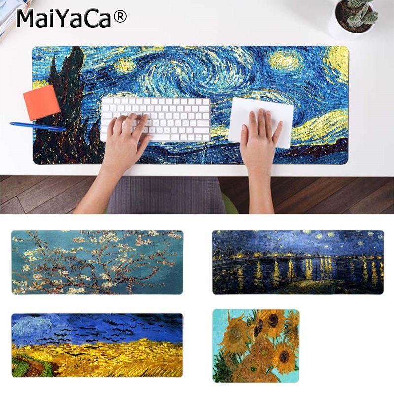 MaiYaCa Cool New Art Van Gogh Starry Night Sunflower MousePads Computer Laptop Anime Mouse Mat Durable Rubber Mouse Mat Pad