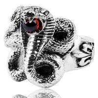 Прирожденные убийцы Для Мужчин's Серебряные ювелирные изделия Флер де Лис палец террор King Cobra Snake Шарм кольцо 925 серебряное кольцо