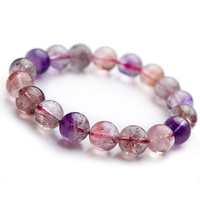 12mm Genuine Jewelry Bracelets Natural Clear Super Seven Super 7 Multi Colors Mix Crystal Round Bead Melody Stone Bracelet