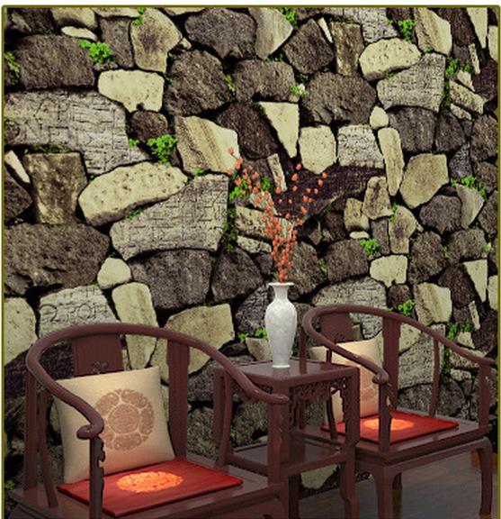 ФОТО Factory direct simulation stone pattern restaurant retro wallpaper PVC wallpaper waterproof paper works