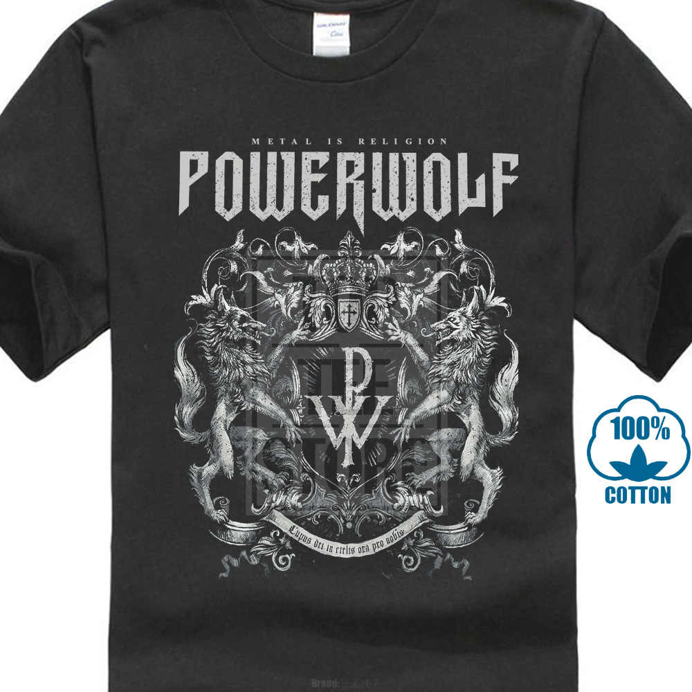 Мужская Повседневная футболка с принтом «Powerwolf Crest Metal Is religion»