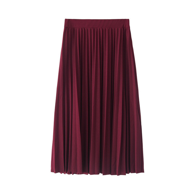 New Fashion High Waist Pleated Solid Color Half Length Elastic Skirt Promotions 3