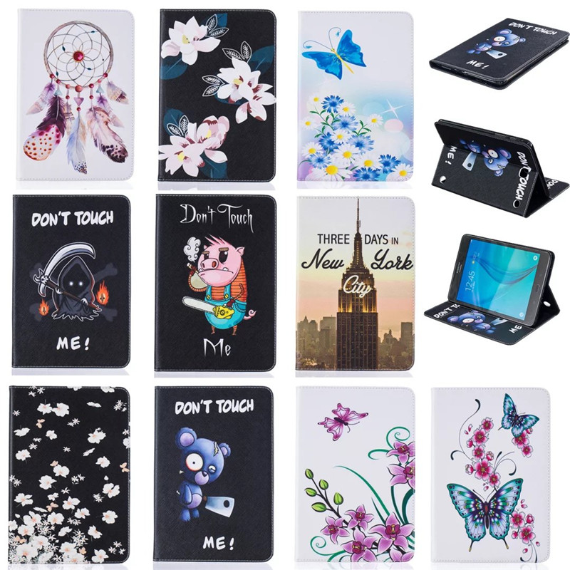 For Samsung Galaxy Tab A 8.0 T350 T351 SM-T355 Painting PU Leather Cute Cartoon Stand Case Cover Tablet PC Protective Cases