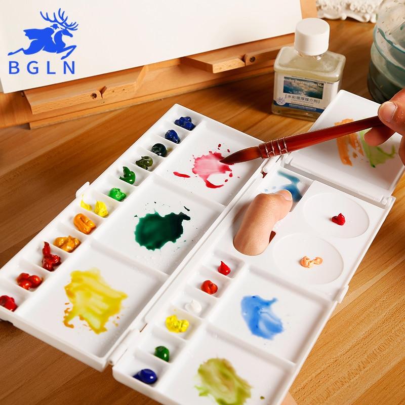 Bgln unids 1 pieza 18 cuadrícula plegable acuarela pintura paleta arte profesional paleta de plástico acuarela paleta arte suministros de arte DC-703