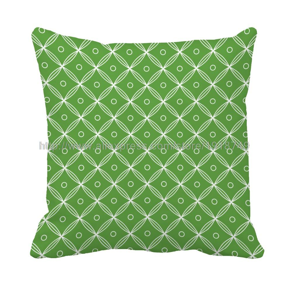 green Dot and plaid geometric cushion cover decorative custom plain throw pillow case set for ...