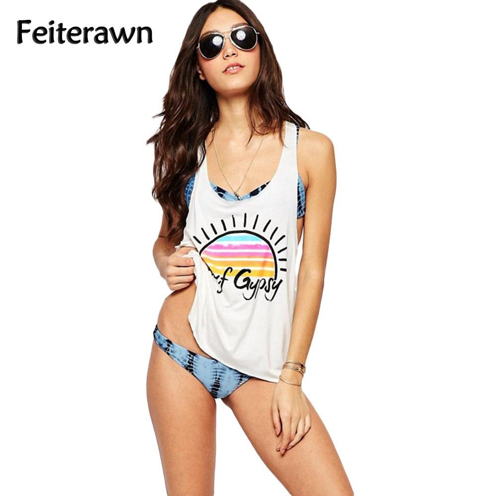 Feiterawn 2018 Women Sexy Beach Cover Up Surf Gypsy Rainbow Sun Tank Swimsuit White Loose Print Swimwear Bathing Suit MX271