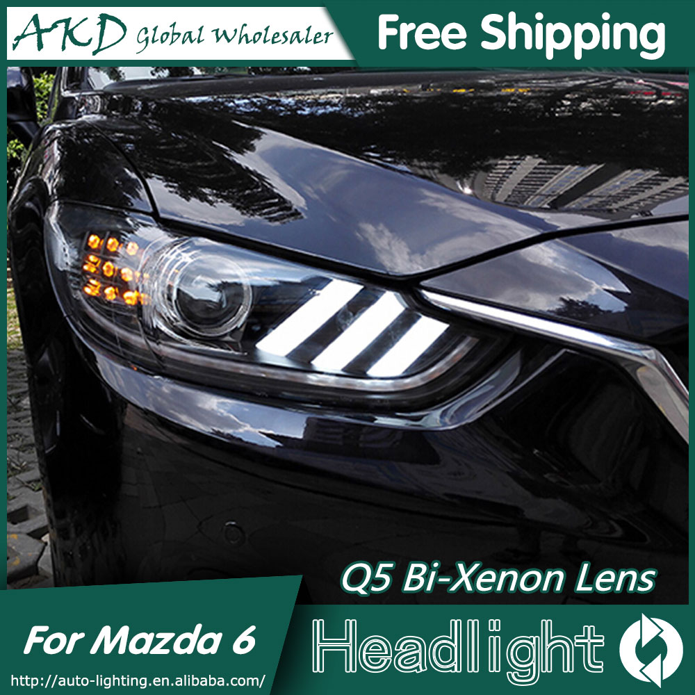 все цены на  AKD Car Styling for Mazda 6 Headlights 2015 Mazda6 Atenza LED Headlight Mustan Design DRL Bi Xenon Lens High Low Beam Parking  онлайн