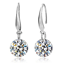 Lose money promotion high quality super shiny 8mm cubic zirconia 925 sterling silver ladies`stud earrings jewelry gift